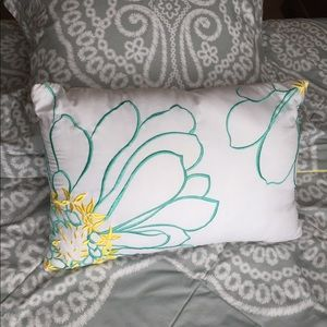 Other - Decorative pillow with teal and yellow embroidery